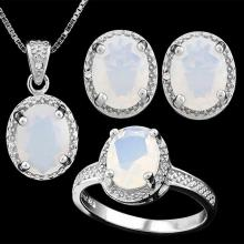 6 CARAT CREATED FIRE OPAL & DIAMOND 925 STERLING SILVER SET #IRS88778