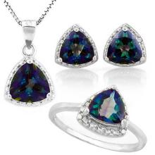 4 3/5 CARAT OCEAN MYSTIC GEMSTONE & DIAMOND 925 STERLING SILVER SET ( Ring Earring and Pendant) #IRS88765