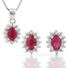 2 CARAT AFRICAN RUBY & DIAMOND 925 STERLING SILVER SET #IRS88769