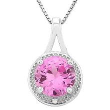 2 2/5 CARAT CREATED PINK SAPPHIRE & DIAMOND 925 STERLING SILVER PENDANT #IRS88753