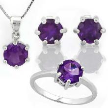 4 CARAT AMETHYST 925 STERLING SILVER SET #IRS88794