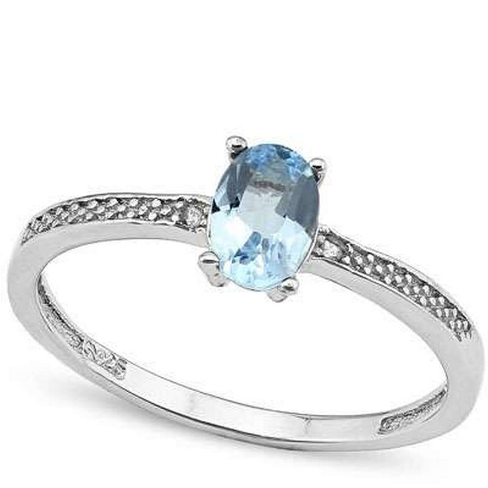 Blue Diamond Platinum: 0.612 CTW BLUE TOPAZ & GENUINE DIAMOND PLATINUM OVER 0.925 S