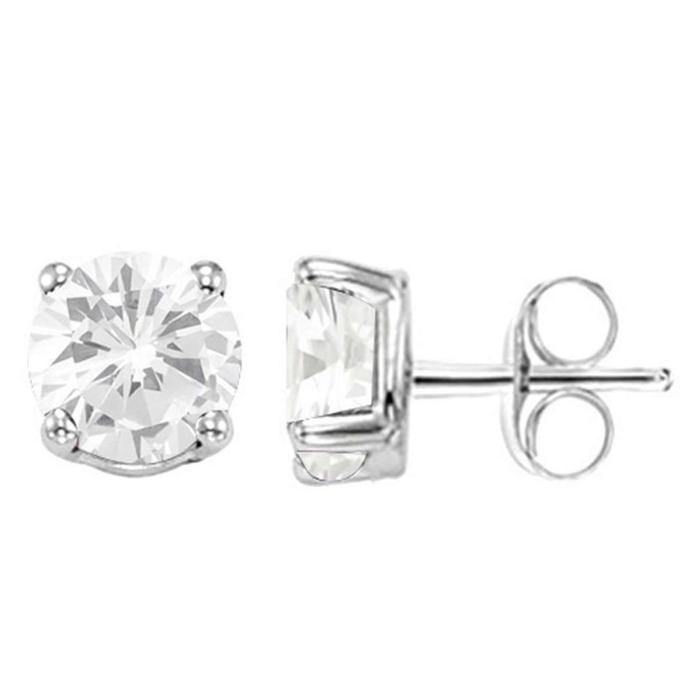 1.76 CT WHITE TOPAZ 10KT SOLID WHITE GOLD EARRING #IRS93677
