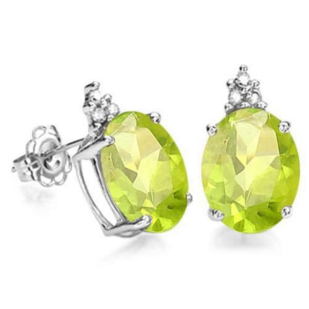 1.6 CARAT PERIDOT 10K SOLID WHITE GOLD OVAL SHAPE EARRING WITH 0.03 CTW DIAMOND #IRS48780