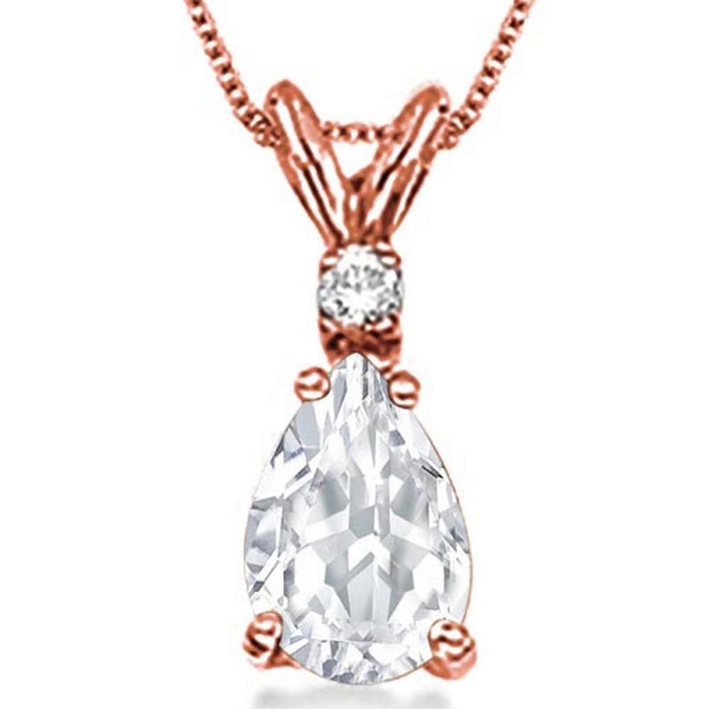 0.75 CARAT WHITE TOPAZ & 0.01 CTW DIAMOND 14KT SOLID RED GOLD PENDANT #IRS77048