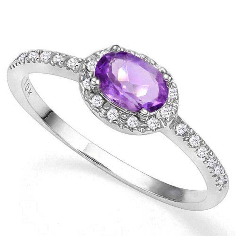 0.42 CTW GENUINE AMETHYST & GENUINE DIAMOND (24 PCS) 10KT SOLID WHITE GOLD RING #IRS57221