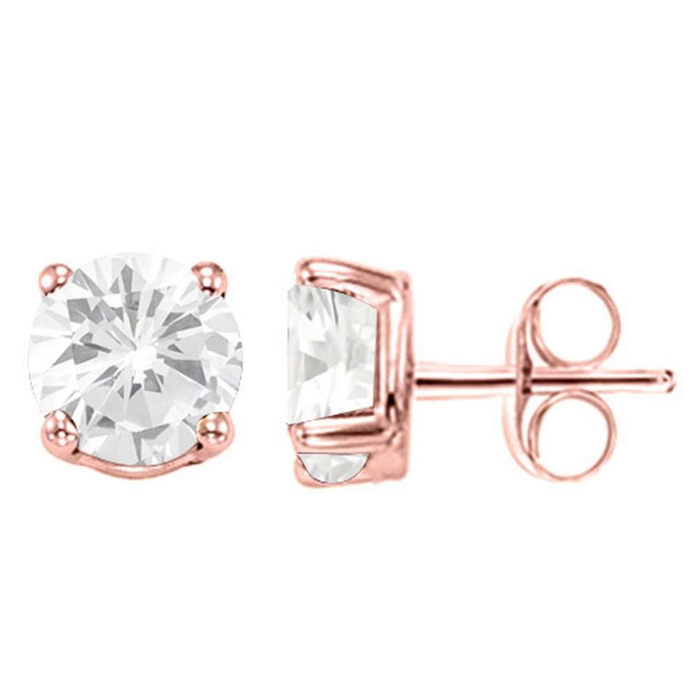 1.76 CT WHITE TOPAZ 10KT SOLID ROSE GOLD EARRING #IRS93701