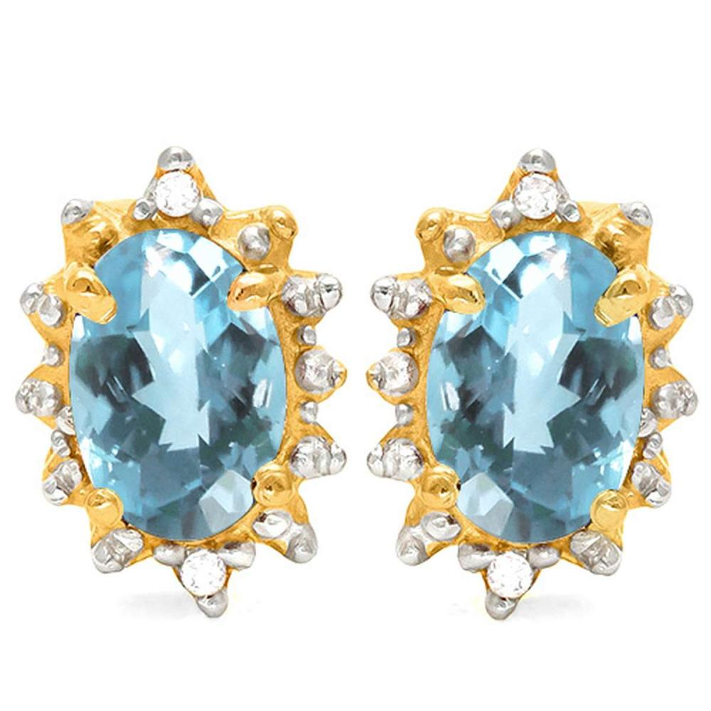 1.08 CT SKY BLUE TOPAZ AND ACCENT DIAMOND 10KT SOLID YELLOW GOLD EARRING #IRS93722