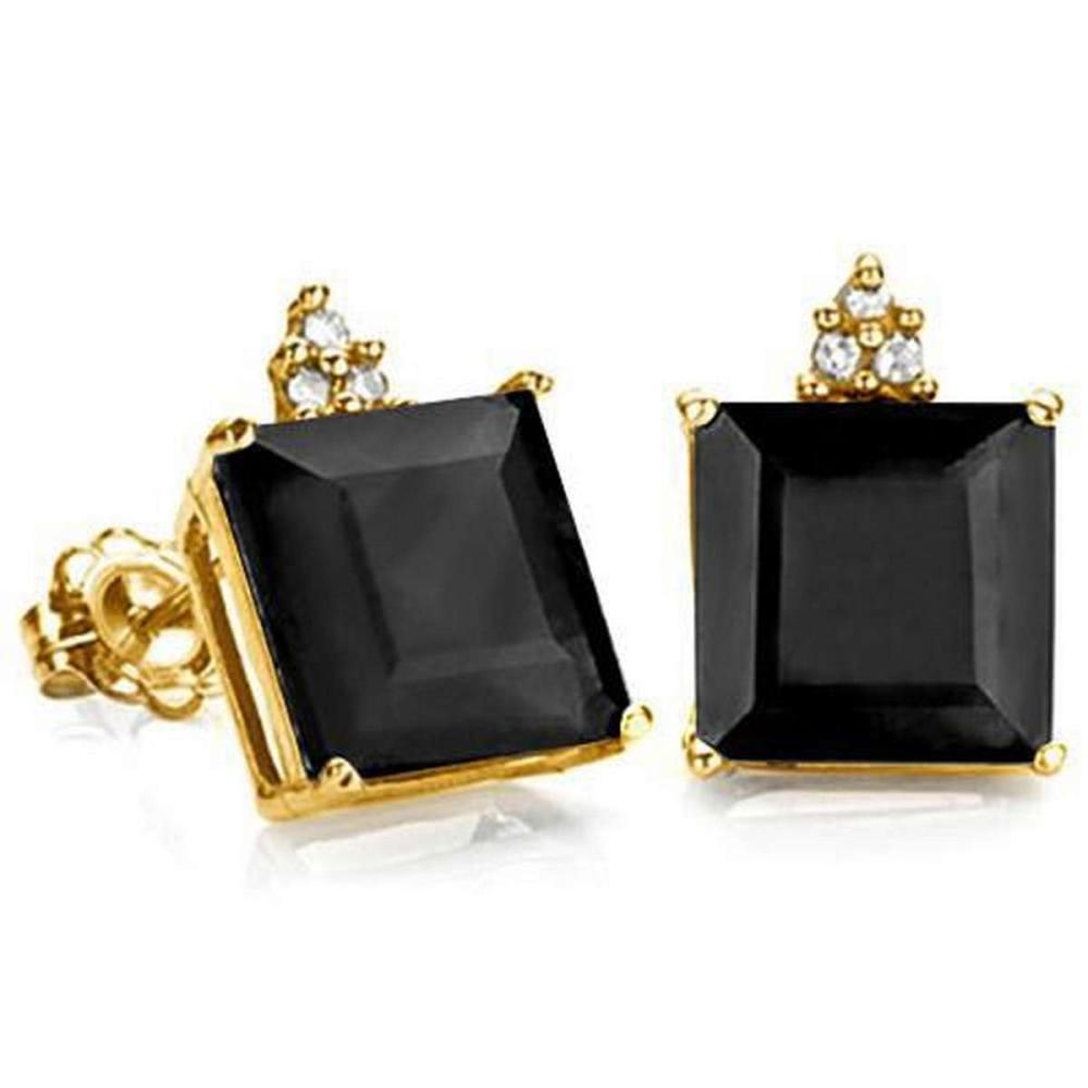 2.5 CARAT BLACK SAPPHIRE 10K SOLID YELLOW GOLD SQUARE SHAPE EARRING WITH 0.03 CTW DIAMOND #IRS48872