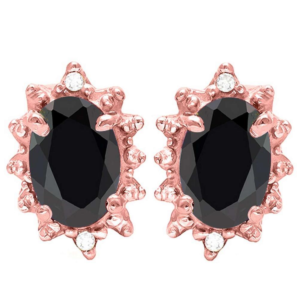 1.20 CT BLACK SAPPHIRE AND ACCENT DIAMOND 10KT SOLID ROSE GOLD EARRING #IRS93730