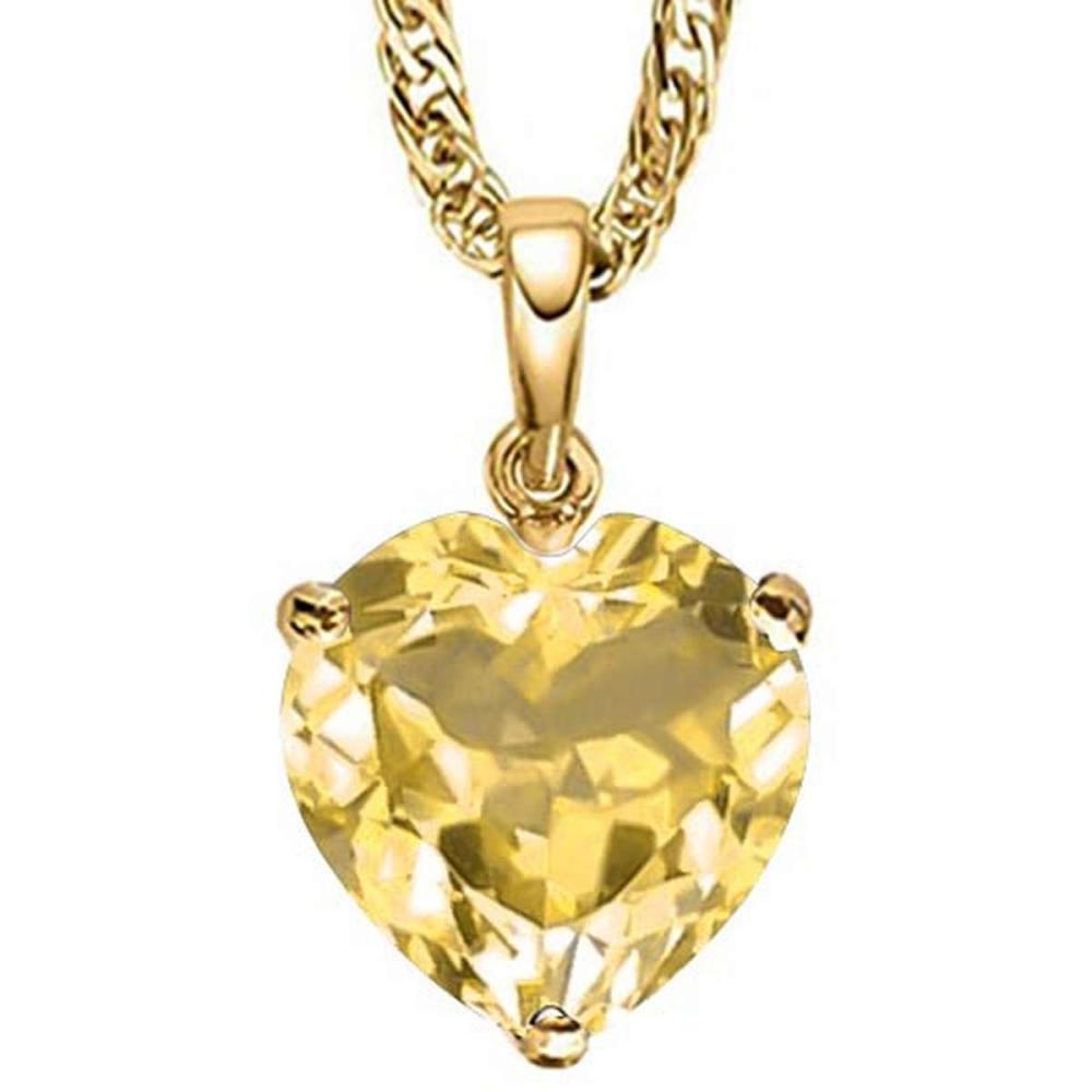 0.7 CTW CITRINE 10K SOLID YELLOW GOLD HEART SHAPE PENDANT #IRS56805