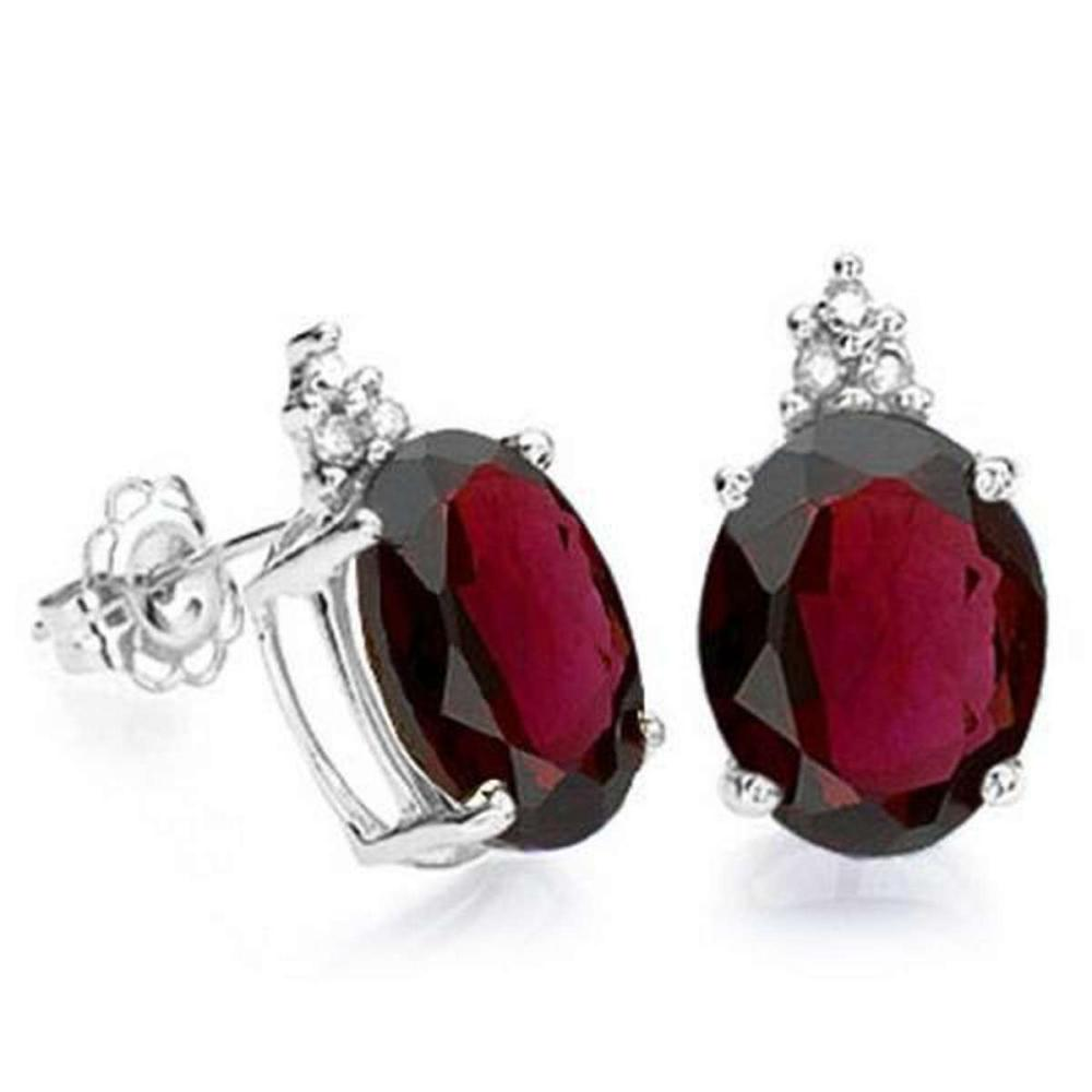 2.0 CARAT GARNET 10K SOLID WHITE GOLD OVAL SHAPE EARRING WITH 0.03 CTW DIAMOND #IRS48776