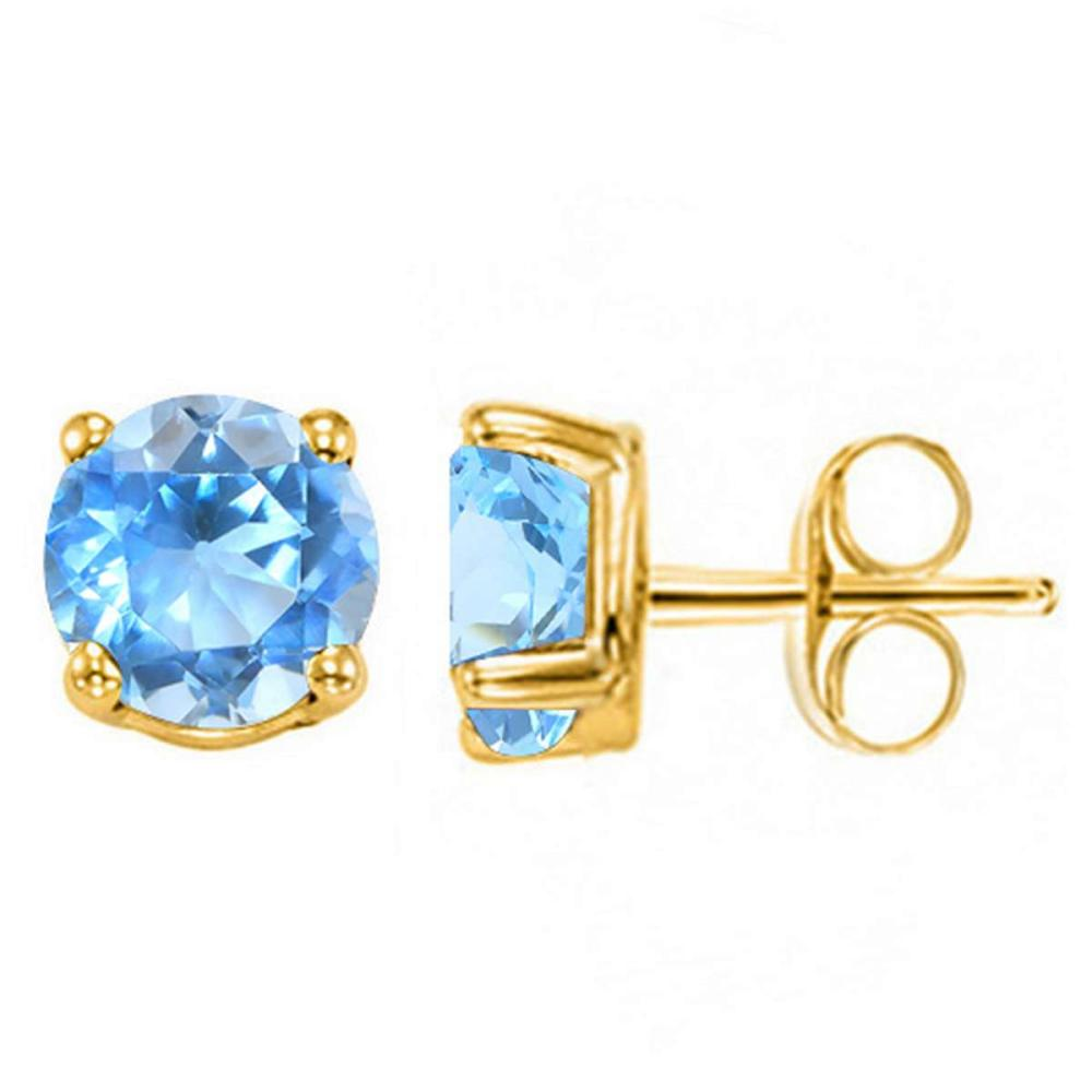 2.04 CT SKY BLUE TOPAZ 10KT SOLID YELLOW GOLD EARRING #IRS93688