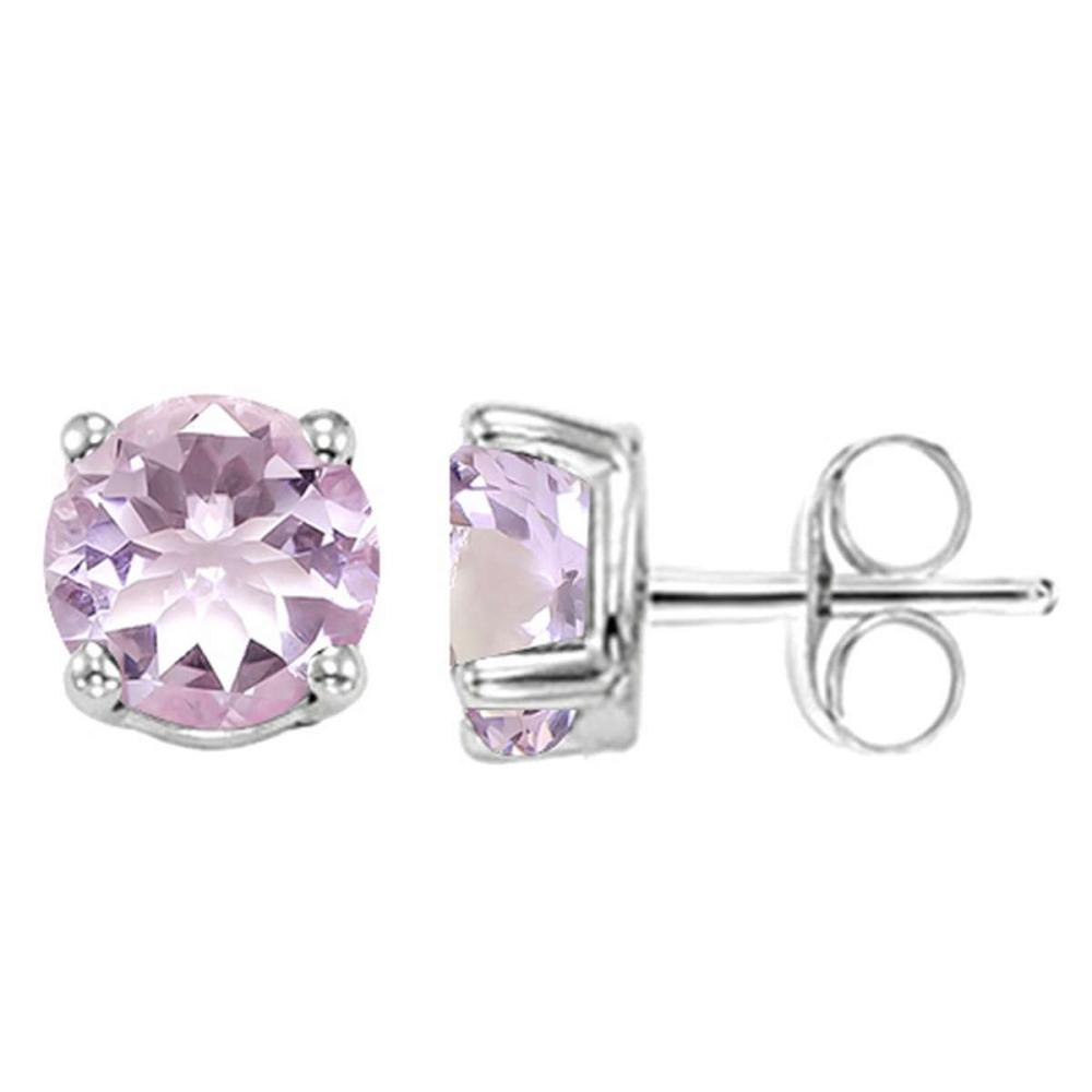 1.55 CT PINK AMETHYST 10KT SOLID WHITE GOLD EARRING #IRS93674