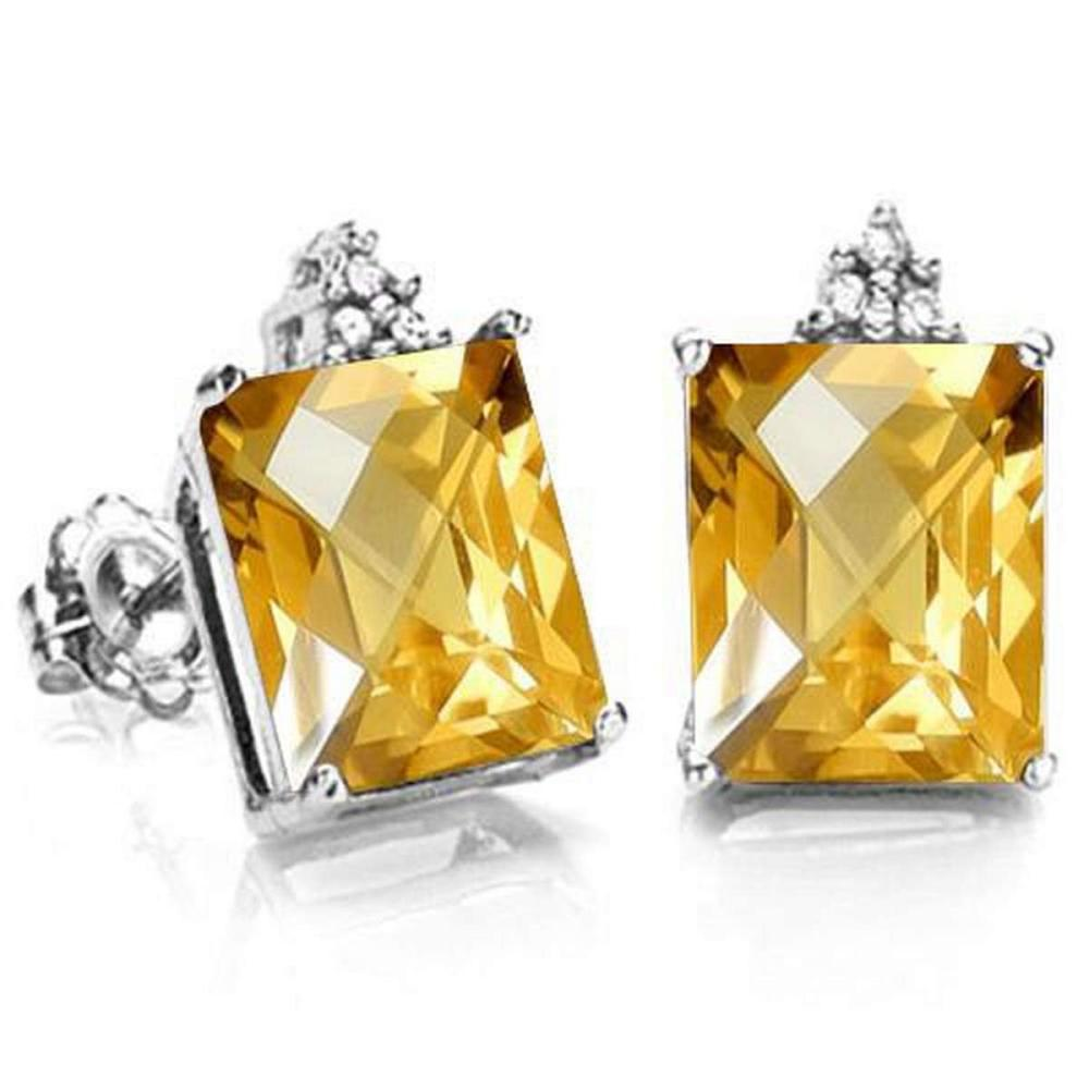 1.7 CARAT CITRINE 10K SOLID WHITE GOLD OCTAGON SHAPE EARRING WITH 0.03 CTW DIAMOND #IRS48789