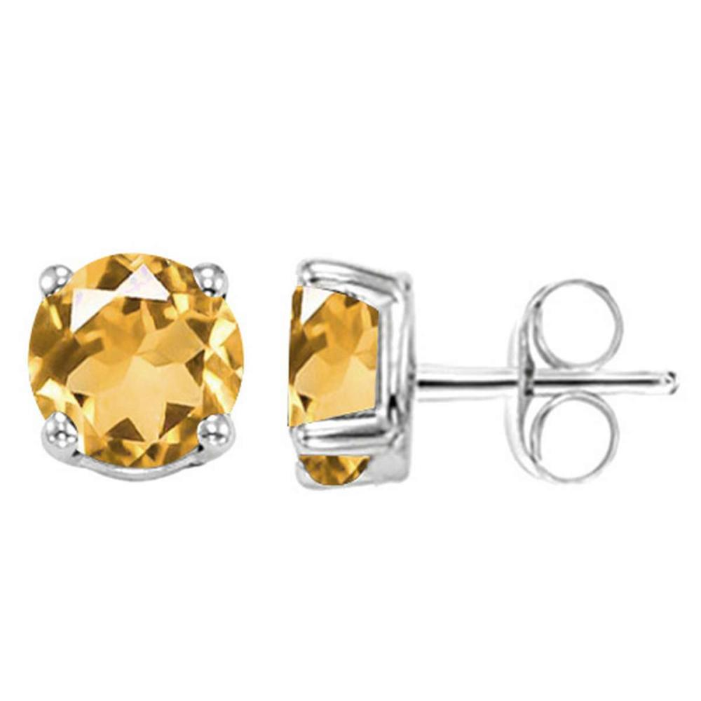 1.45 CT CITRINE 10KT SOLID WHITE GOLD EARRING #IRS93680
