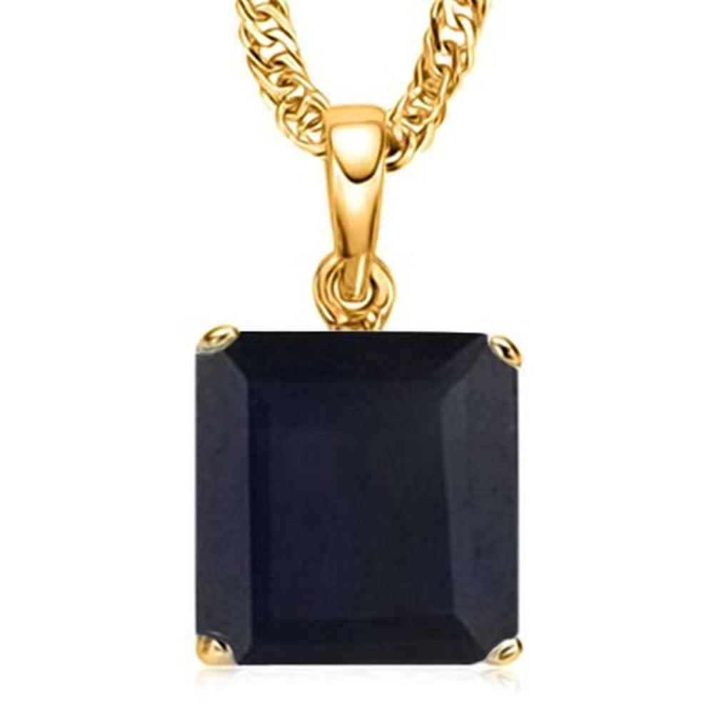 1.25 CTW BLACK SAPPHIRE 10K SOLID YELLOW GOLD SQUARE SHAPE PENDANT #IRS56785