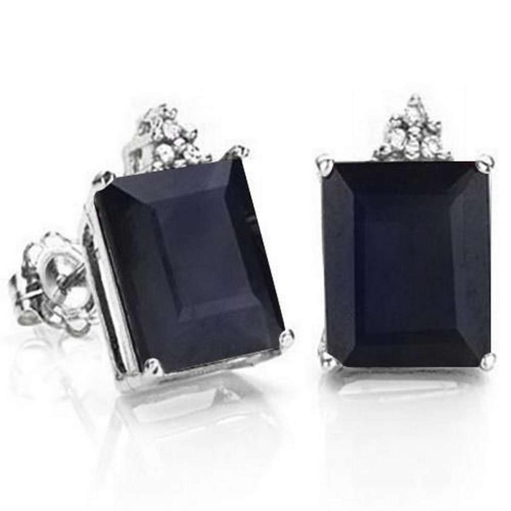 2.53 CARAT BLACK SAPPHIRE 10K SOLID WHITE GOLD OCTAGON SHAPE EARRING WITH 0.03 CTW DIAMOND #IRS48785