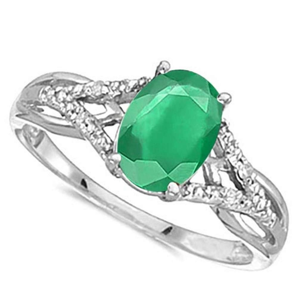 0.65 CARAT EMERALD & 0.04 CTW DIAMOND 14KT SOLID WHITE GOLD RING #IRS76905