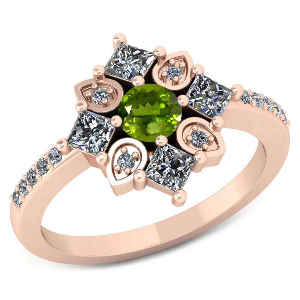 Certified .54 CTW Genuine Peridot And Diamond 14K Rose Gold Ring #IRS91775