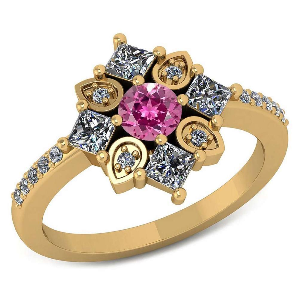 Certified .54 CTW Genuine Pink Tourmaline And Diamond 14K Yellow Gold Ring #IRS91784