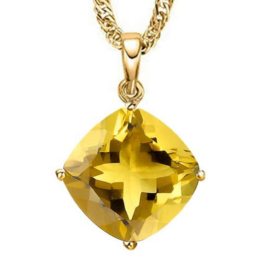 0.8 CTW CITRINE 10K SOLID YELLOW GOLD CUSHION SHAPE PENDANT #IRS56797