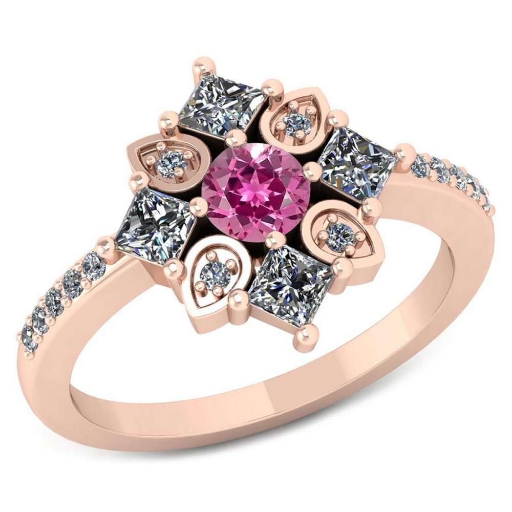 Certified .54 CTW Genuine Pink Tourmaline And Diamond 14K Rose Gold Ring #IRS91773