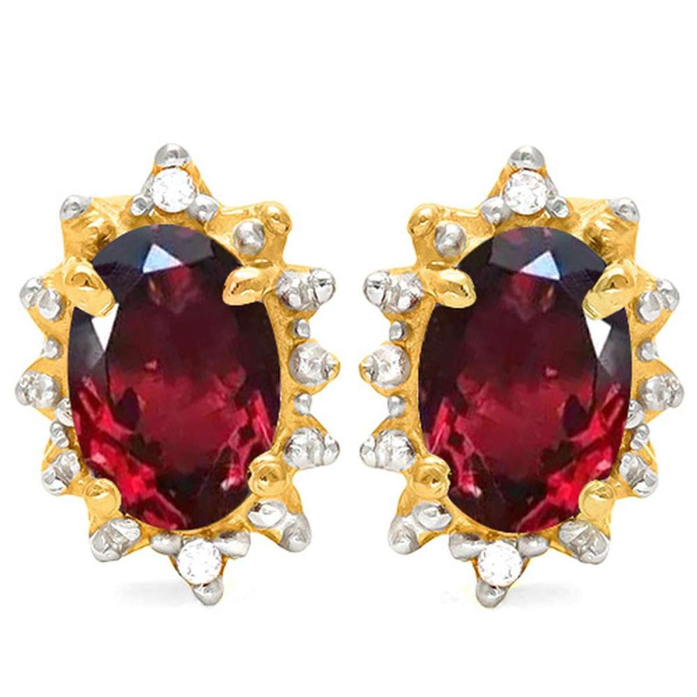 1.01 CT GARNET AND ACCENT DIAMOND 10KT SOLID YELLOW GOLD EARRING #IRS93724