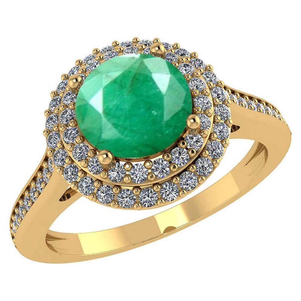 Certified 3.2 CTW Genuine Emerald And Diamond 14K Yellow Gold Ring #IRS91535