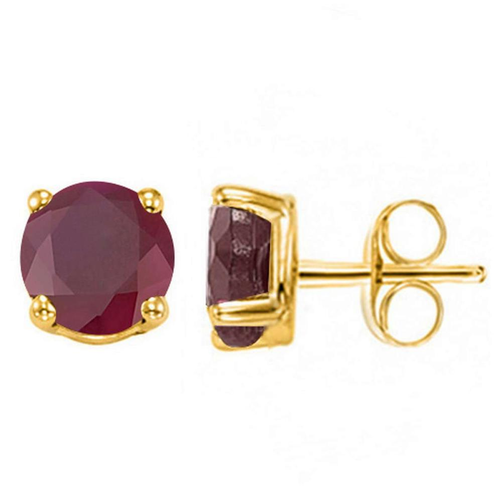 2.85 CT RUBY 10KT SOLID YELLOW GOLD EARRING #IRS93681
