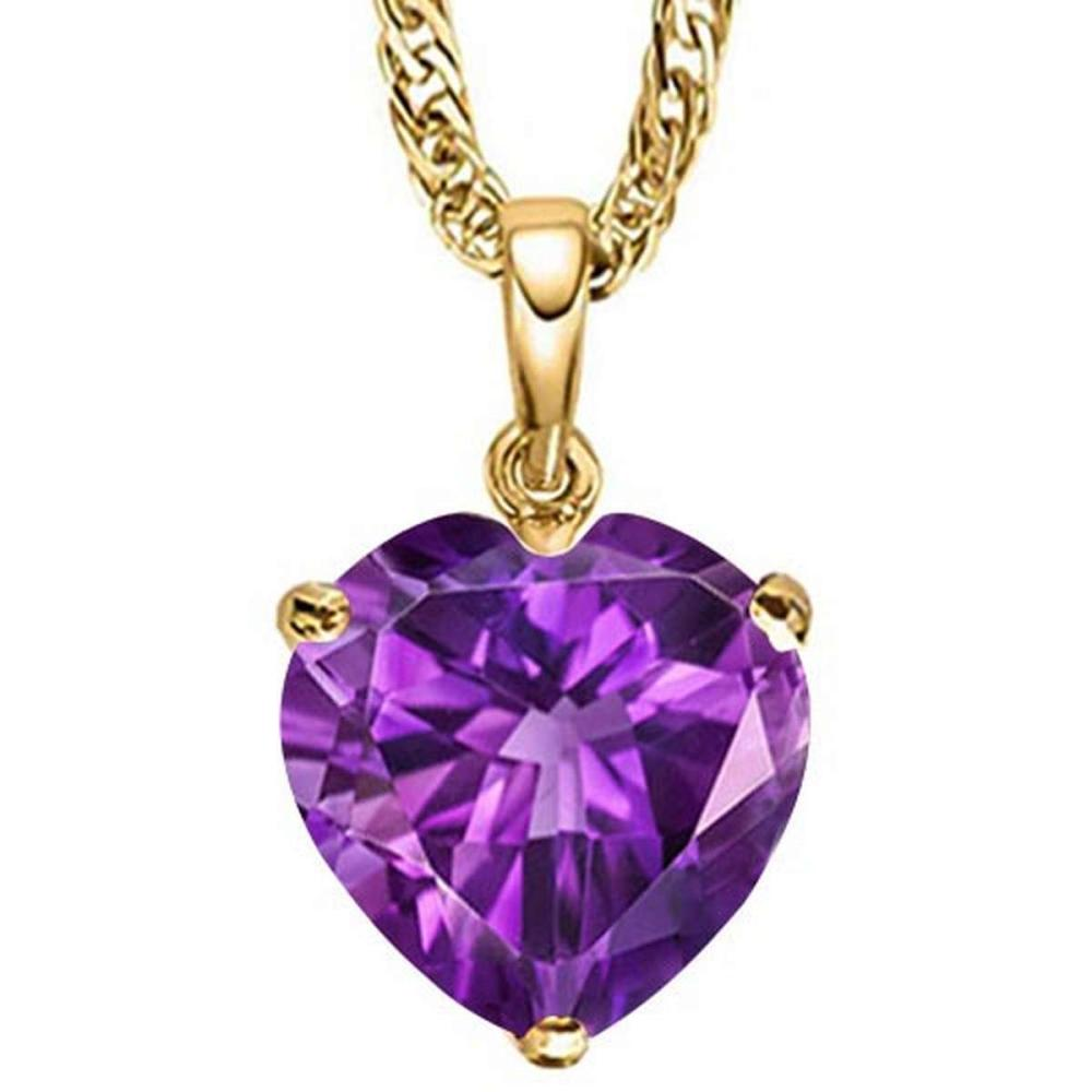 0.7 CTW AMETHYST 10K SOLID YELLOW GOLD HEART SHAPE PENDANT #IRS56804