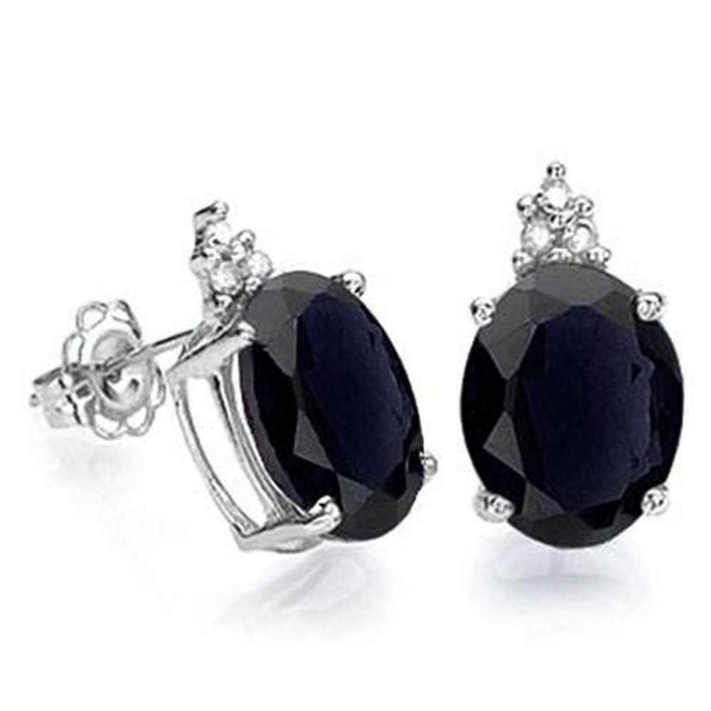 1.80 CARAT BLACK SAPPHIRE 10K SOLID WHITE GOLD OVAL SHAPE EARRING WITH 0.03 CTW DIAMOND #IRS48774