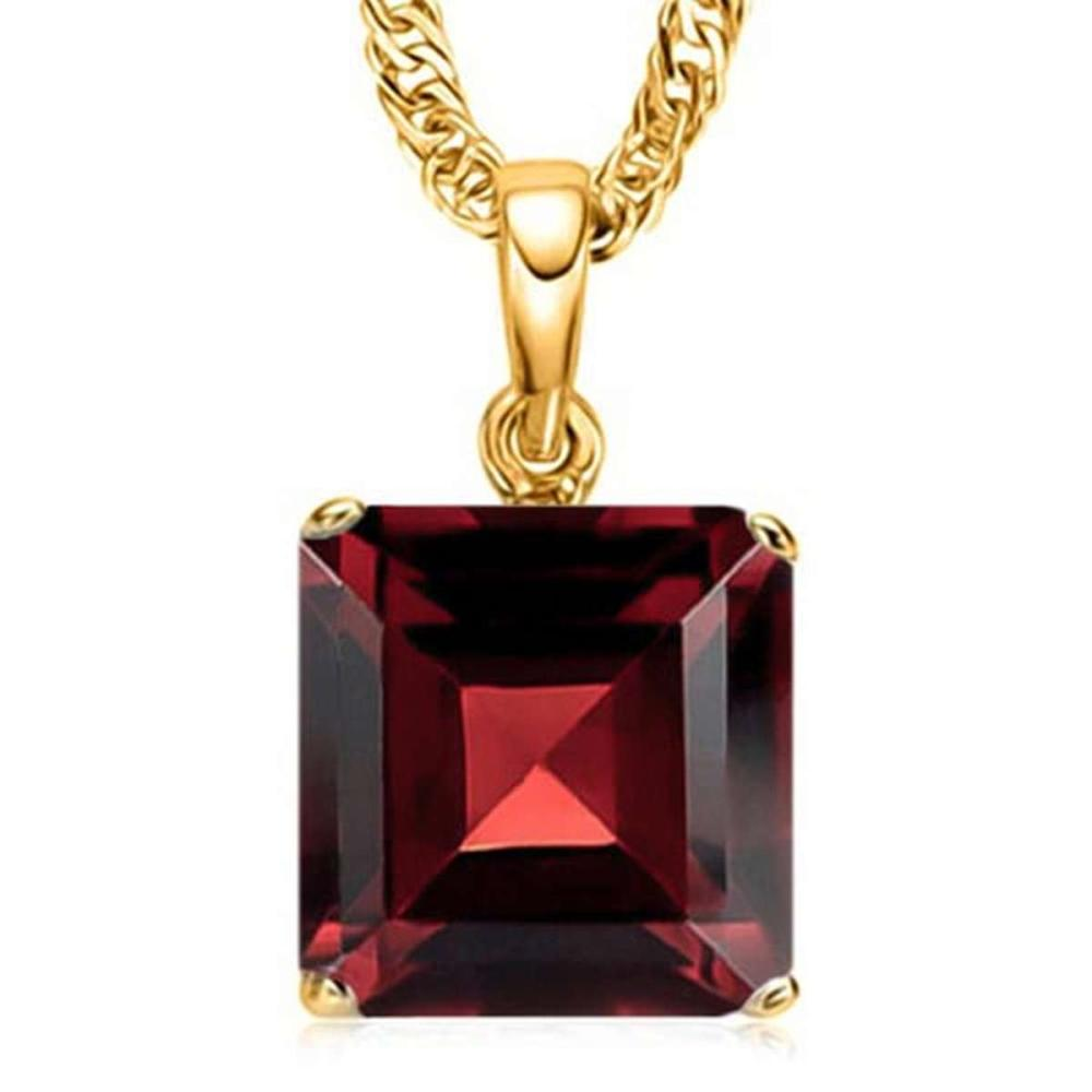 1.35 CTW GARNET 10K SOLID YELLOW GOLD SQUARE SHAPE PENDANT #IRS56787