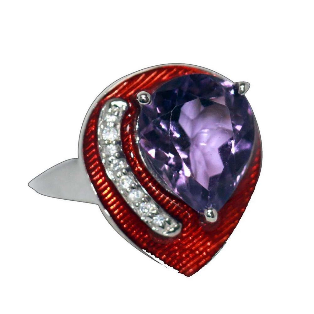 8.20 CTW Amethyst AND RED Ring .925 Sterling Silver #IRS45476