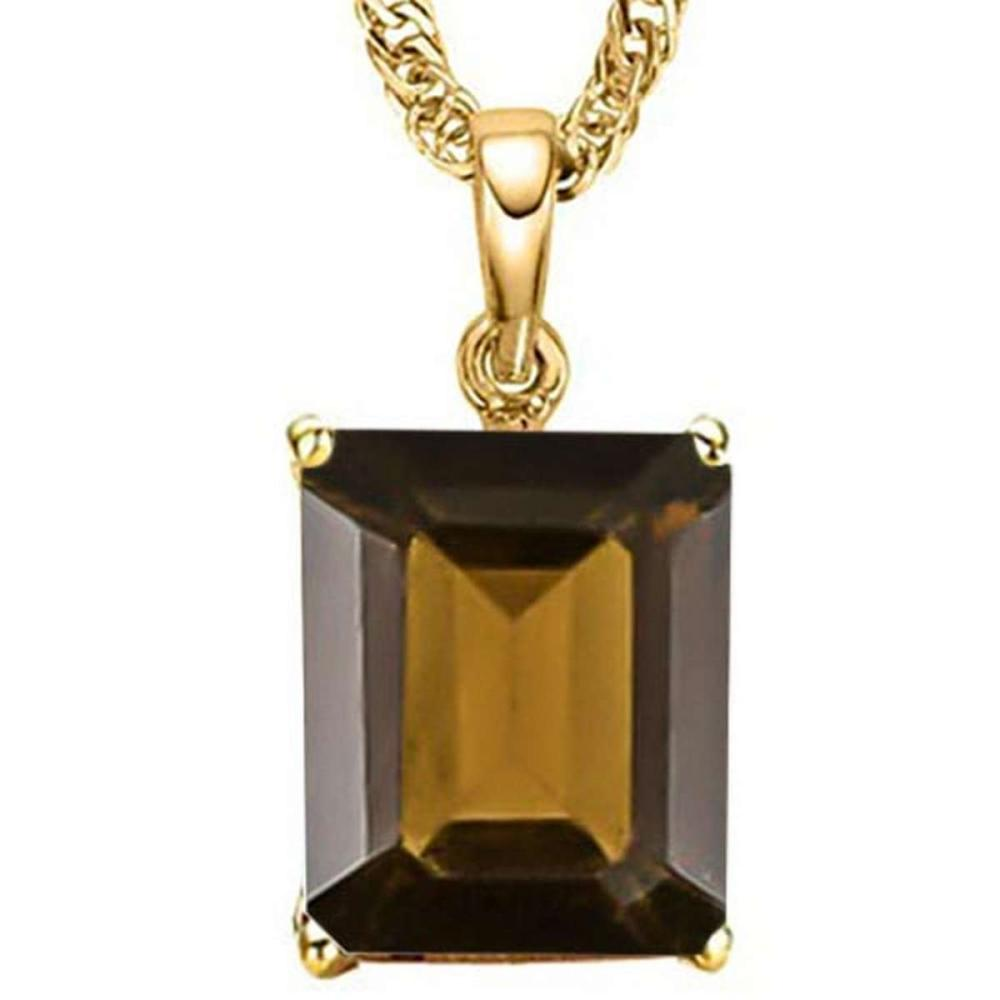 0.9 CTW SMOKEY 10K SOLID YELLOW GOLD OCTAGON SHAPE PENDANT #IRS56761