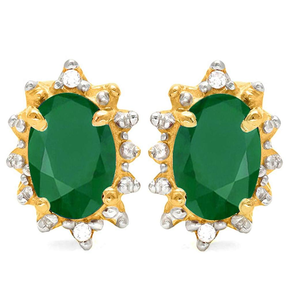 0.79 CT EMERALD AND ACCENT DIAMOND 10KT SOLID YELLOW GOLD EARRING #IRS93719