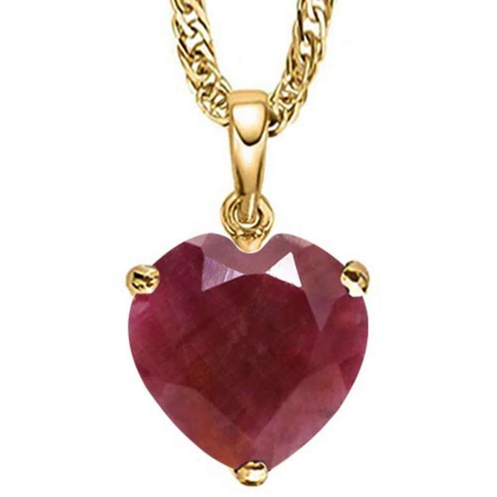 0.9 CTW RUBY 10K SOLID YELLOW GOLD HEART SHAPE PENDANT #IRS56800