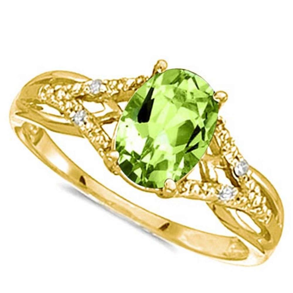 0.83 CARAT PERIDOT & 0.04 CTW DIAMOND 14KT SOLID YELLOW GOLD RING #IRS76926