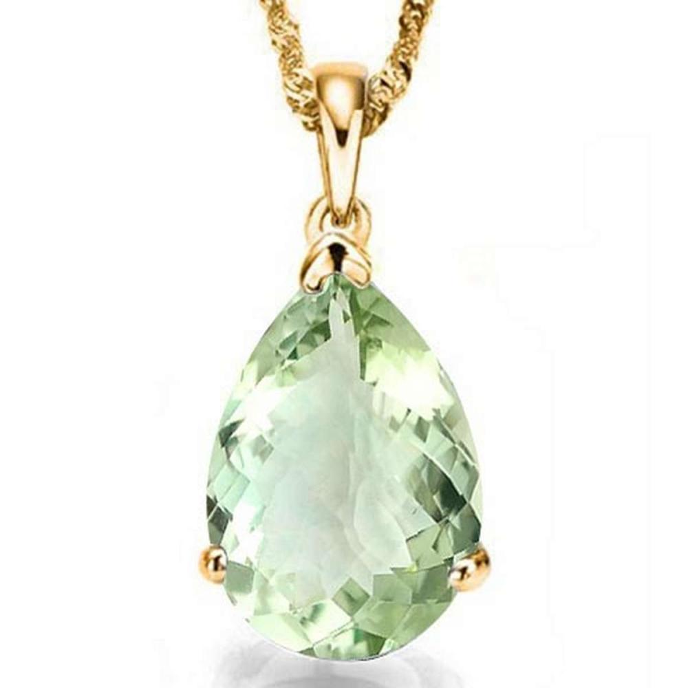 0.7 CTW GREEN AMETHYST 10K SOLID YELLOW GOLD PEAR SHAPE PENDANT #IRS56769