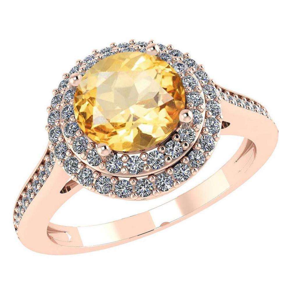 Certified 2.52 CTW Genuine Citrine And Diamond 14K Rose Gold Ring #IRS91519