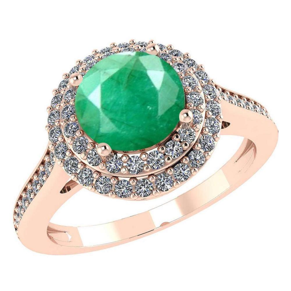 Certified 3.2 CTW Genuine Emerald And Diamond 14K Rose Gold Ring #IRS91513
