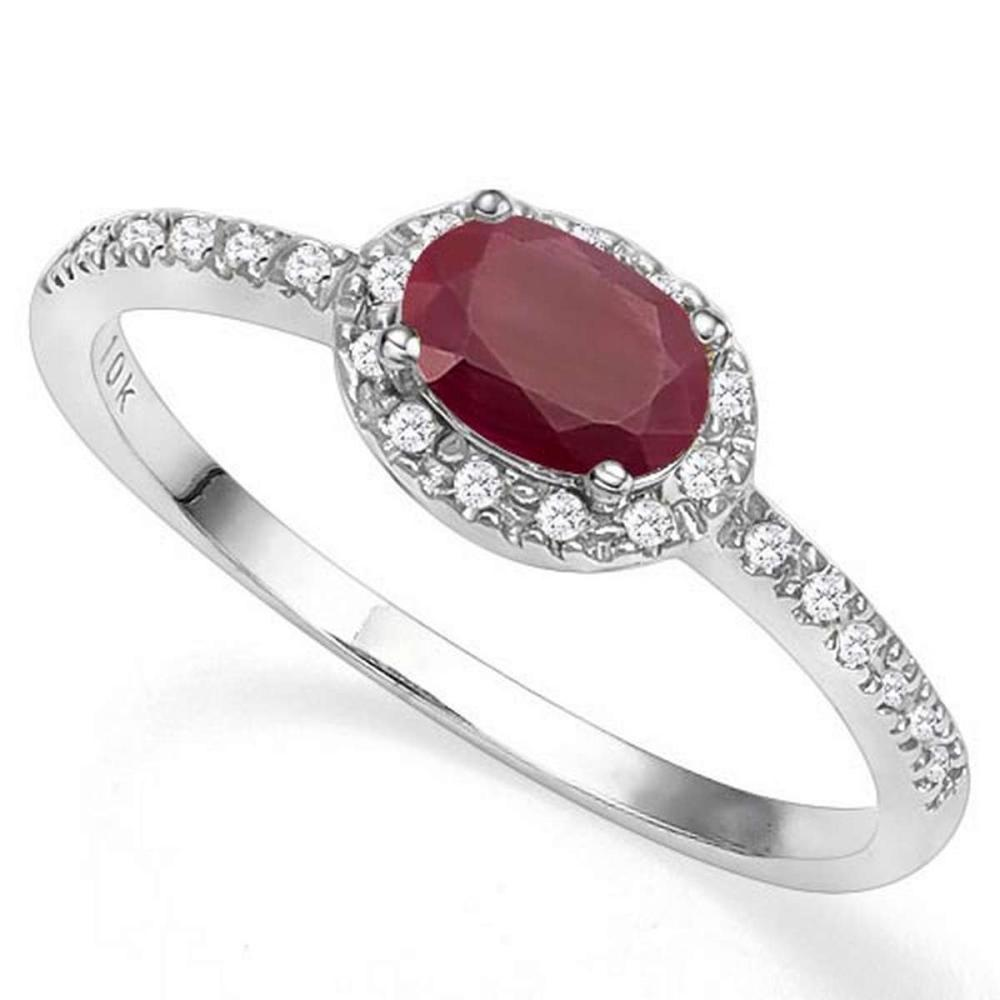 0.64 CTW GENUINE RUBY & GENUINE DIAMOND (24 PCS) 10KT SOLID WHITE GOLD RING #IRS57218