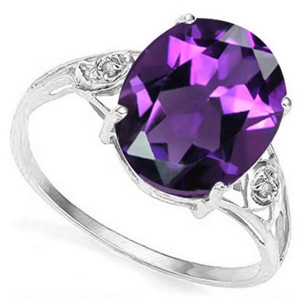 3.6 CTW AMETHYST & GENUINE DIAMOND (2 PCS) 10KT SOLID WHITE GOLD RING #IRS57207