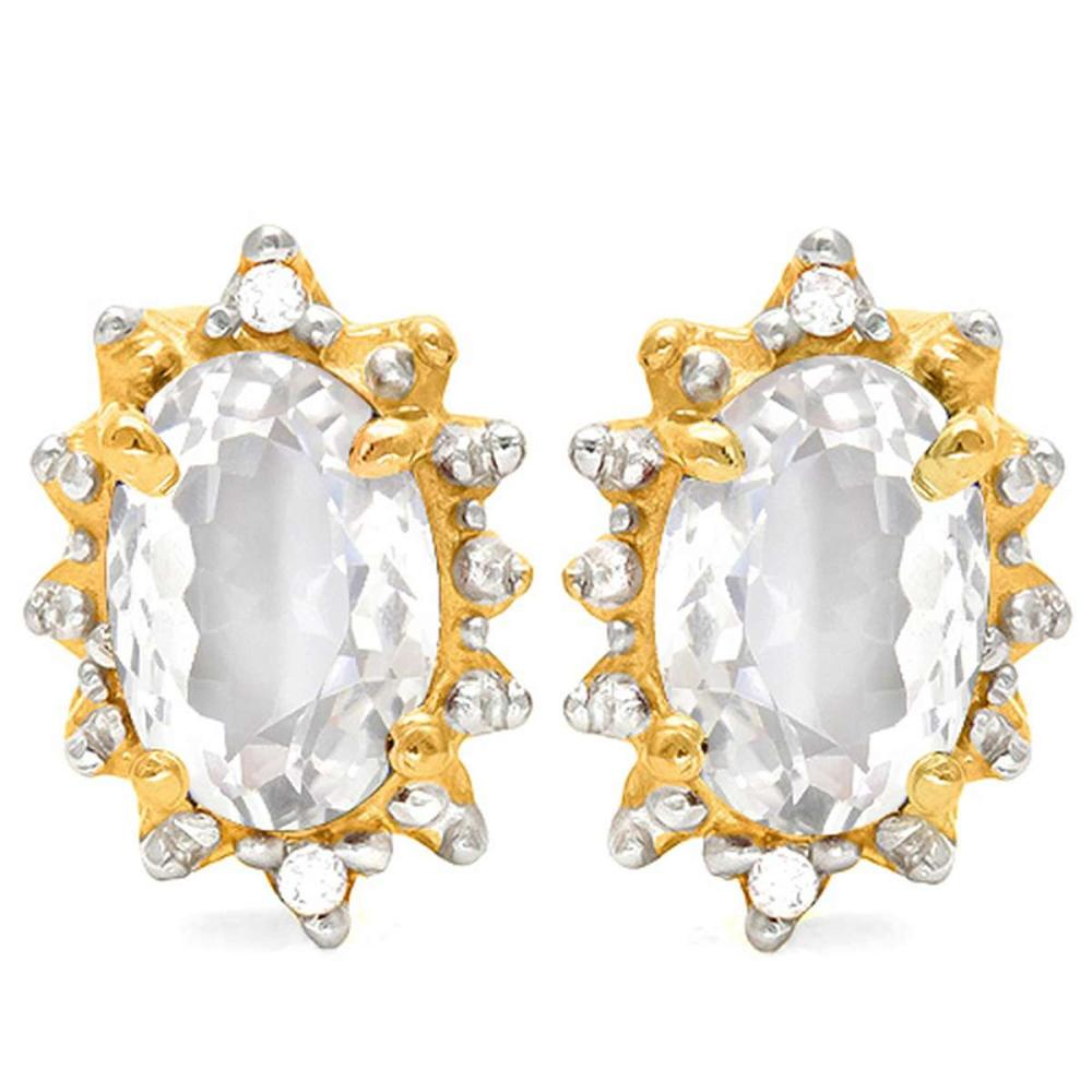 1.2 CT WHITE TOPAZ AND ACCENT DIAMOND 10KT SOLID YELLOW GOLD EARRING #IRS93727