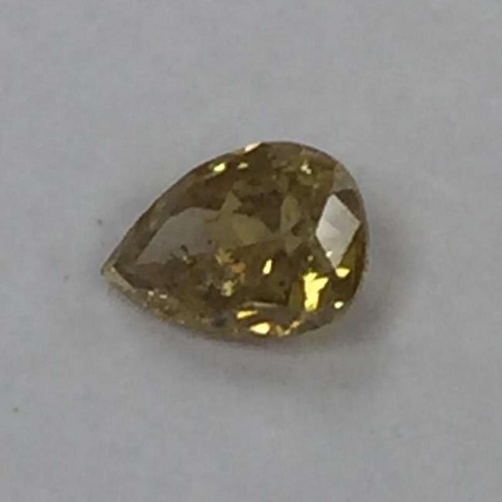 CERTIFIED 0.19 CTW I1 NATURAL FANCY YELLOW PEAR DIAMOND #IRS87886