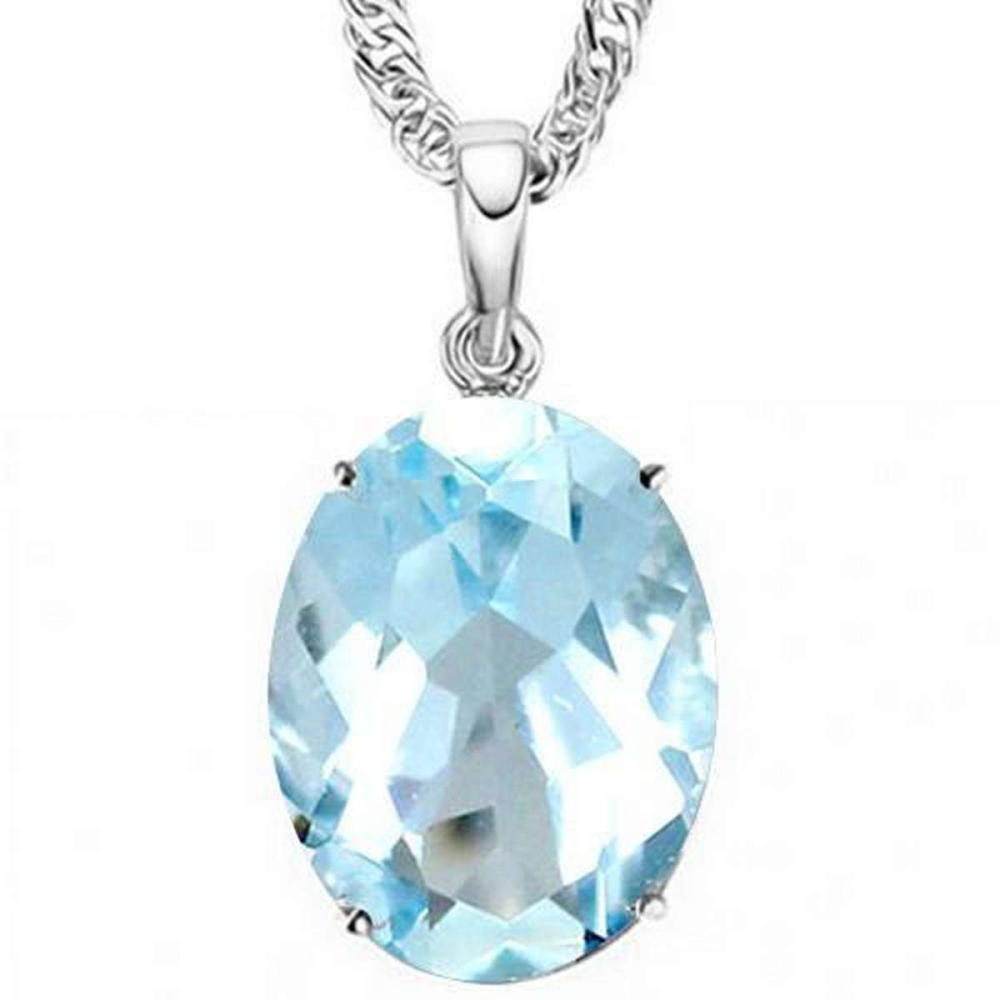 0.9 CTW SKY BLUE TOPAZ 10K SOLID WHITE GOLD OVAL SHAPE PENDANT #IRS36842