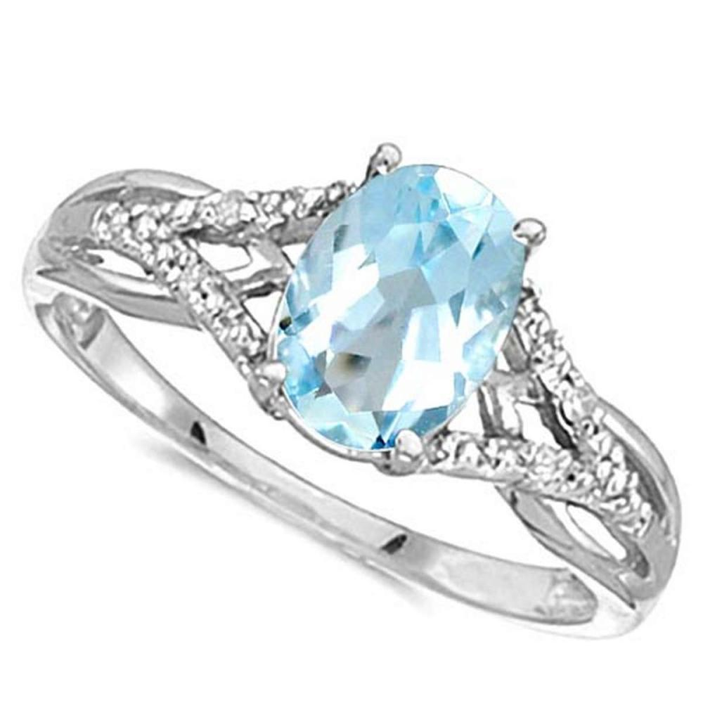 0.95 CARAT SKY BLUE TOPAZ & 0.04 CTW DIAMOND 14KT SOLID WHITE GOLD RING #IRS76907