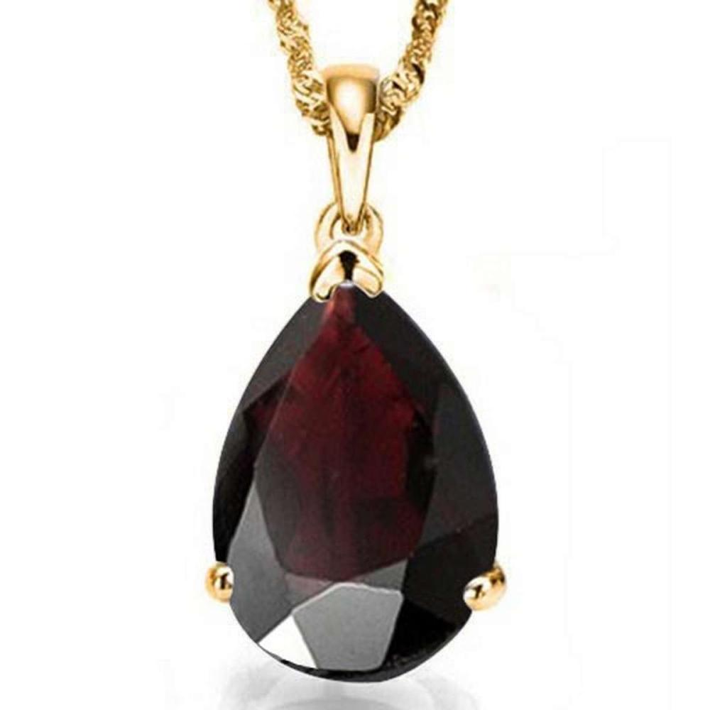 0.9 CTW GARNET 10K SOLID YELLOW GOLD PEAR SHAPE PENDANT #IRS56766