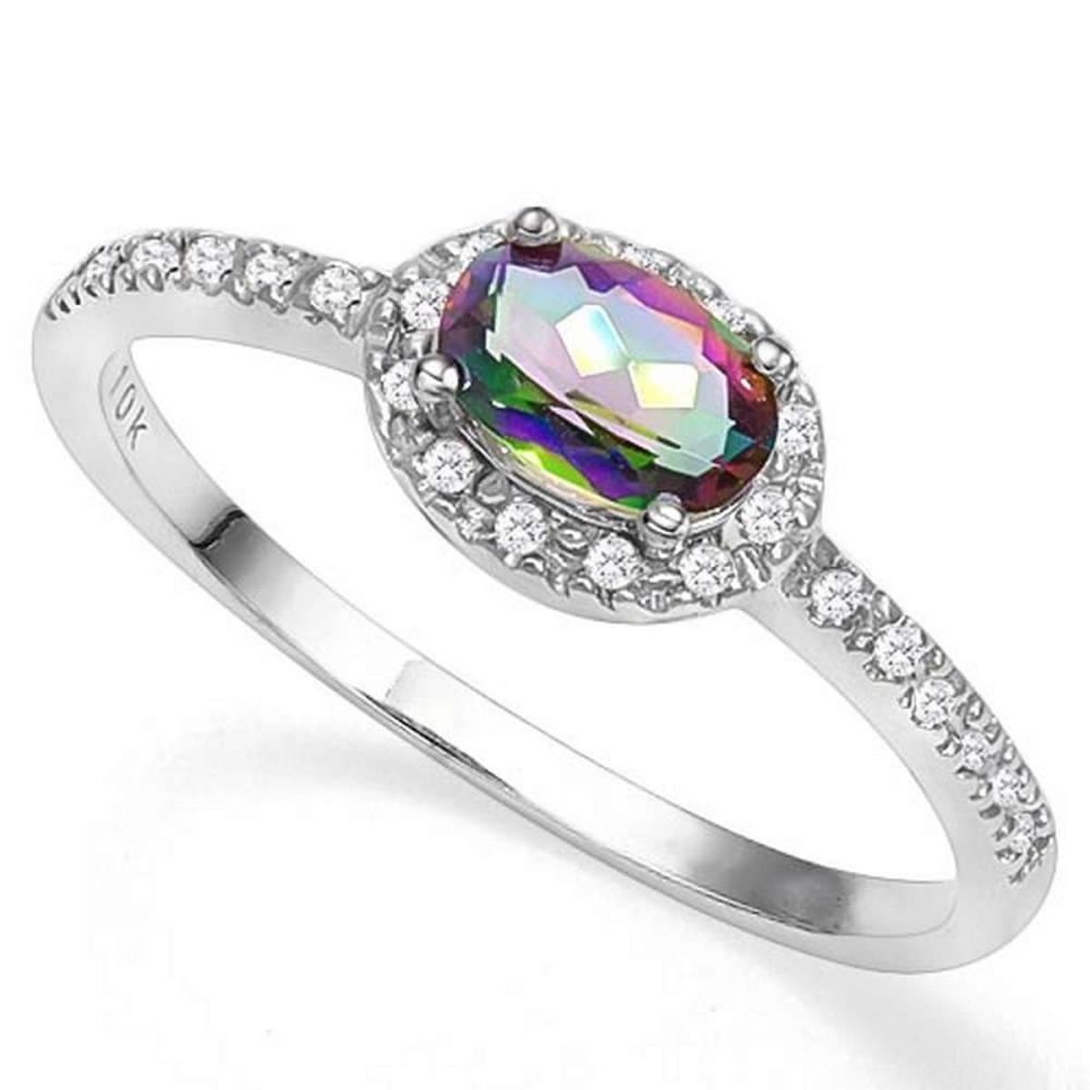 0.4 CTW MYSTIC GEMSTONE & GENUINE DIAMOND (24 PCS) 10KT SOLID WHITE GOLD RING #IRS57215