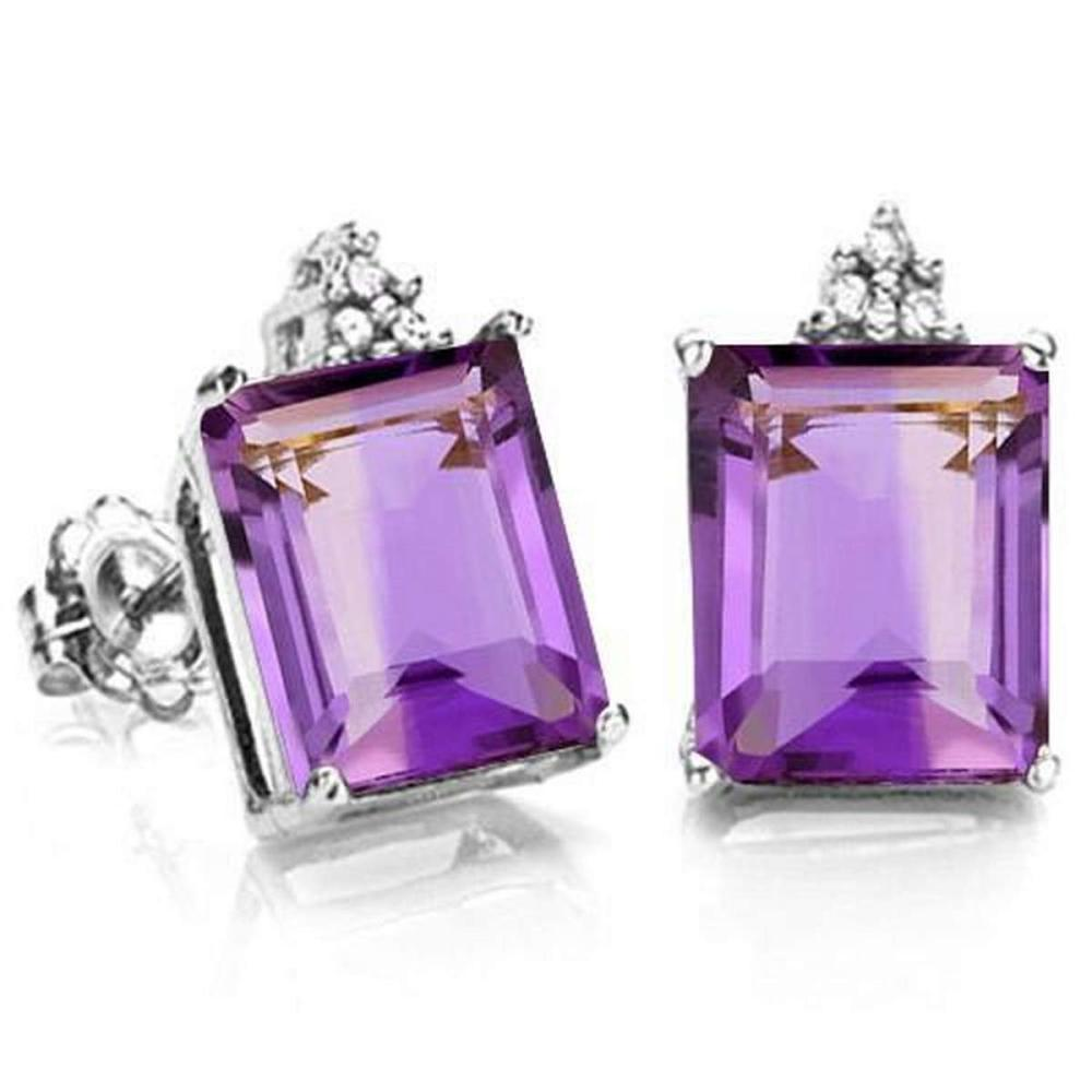 1.96 CARAT AMETHYST 10K SOLID WHITE GOLD OCTAGON SHAPE EARRING WITH 0.03 CTW DIAMOND #IRS48788